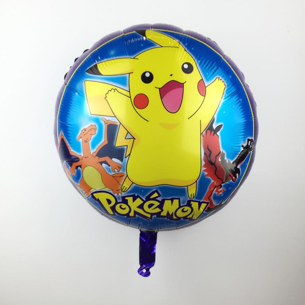 XXPWJ Free Shipping 18nch Round Pikachu Aluminum Balloons Children Toy Party Dec