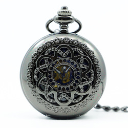 wholesale 20pcs Black Hollow Fashion Design Roman Dial Windup Mechanical Mens Women Pocket FOB Watch with Chain Free Shipping