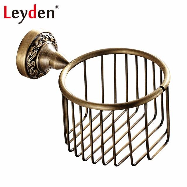 Leyden Antique Brass/ ORB Toilet Paper Storage Basket Wall Mount Copper Toilet  Paper Holder Tissue