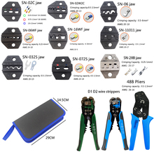 цена на Tool crimping plier set wire cable stripping plier suit plus 8 jaw for all kinds of cold-press and sleeve terminal multitool kit