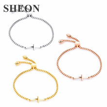 SHEON High Quality 25cm Stainless Steel Bracelet & Bangle Personality Engraved Cross Adjustable Bracelets Jewelry for Birthday
