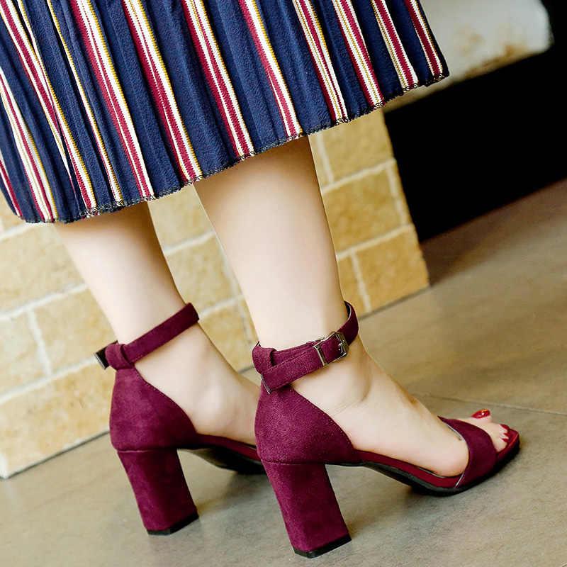 ... 2019 Ankle Strap Heels Women Sandals Summer Shoes Women Open Toe Chunky  High Heels Party Dress ... 656bdc880333