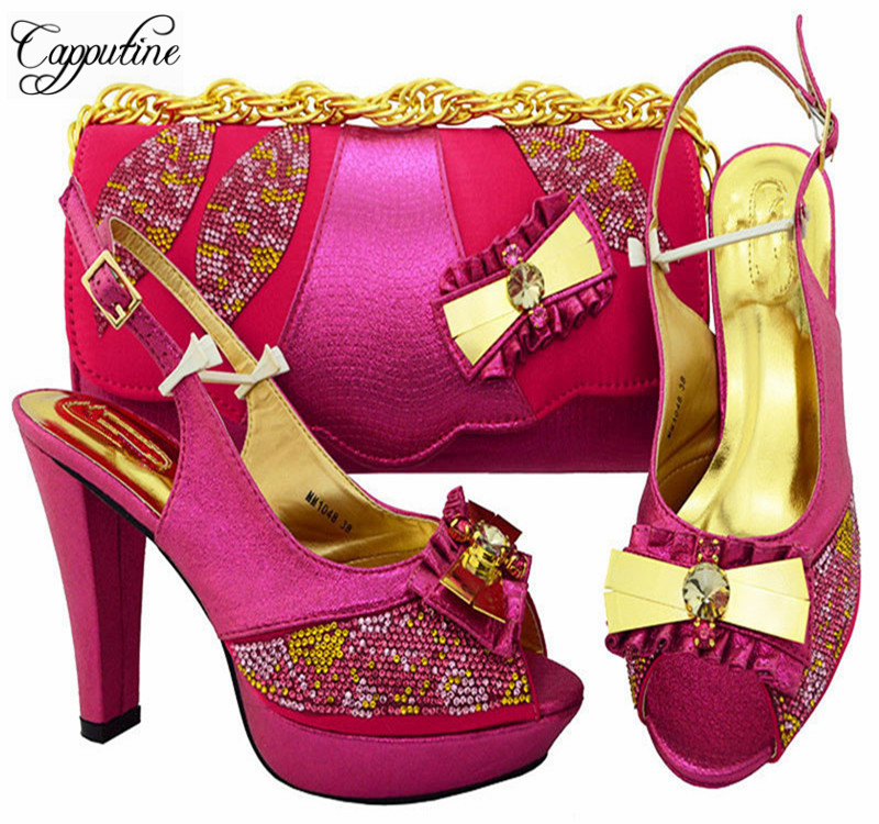 Capputine Pretty Italian Elegant Matching Shoes And Bag Set African PU Leather Shoes And Bag Set For Wedding Dress MM1048 ободки pretty mania ободок