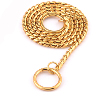 7 Size Gold Silver Stainless Steel P Chain Snake Chain Dog Harness Twisted Necklace Pet Show Training Choker Collars Dog Leash(China)