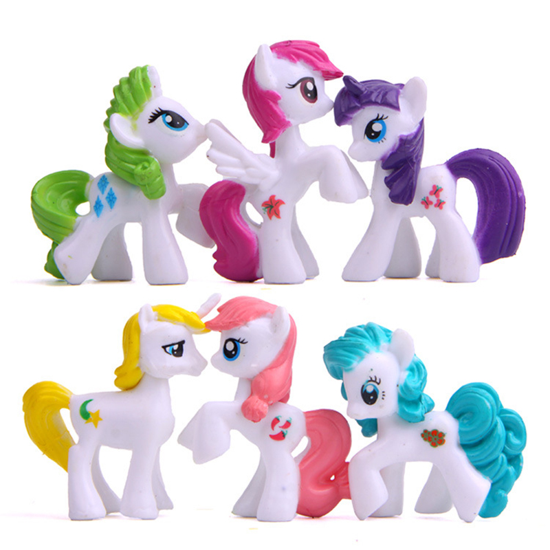 6pcs/set Kids Anime My Cute Lovely Little Horse Toy Action Figures Toys Dolls for Children Girl Birthday Christmas Gift 6 pcs set princess snow white cinderella action figures toys cute q version 9cm pvc statue anime collectible dolls kids gift