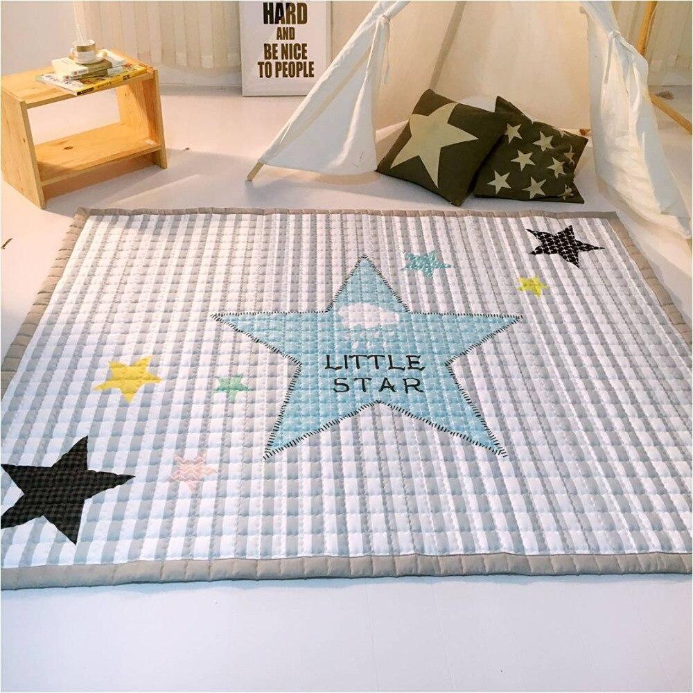 Couverture d'étoile blanche grise de mode, tapis de jeu de bébé 150*200 cm, tapis fonctionnel de chambre de bébé