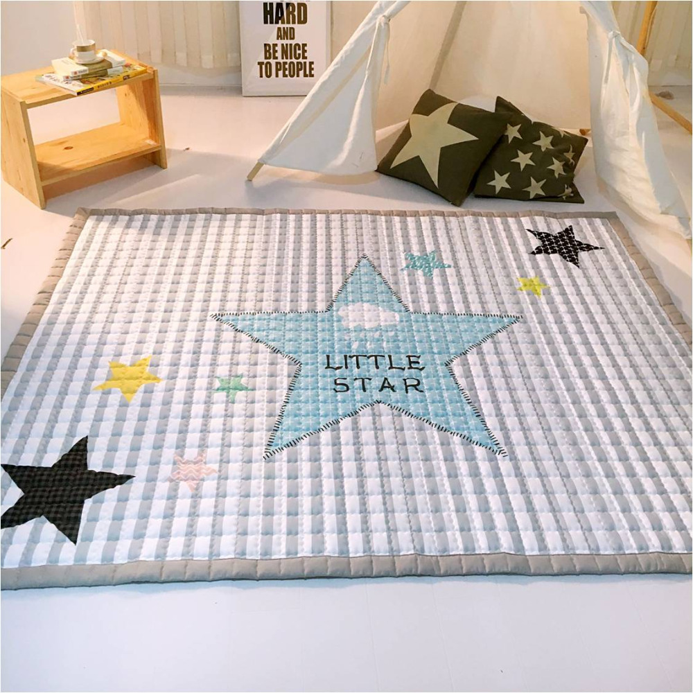 Fashion Grey White Star Blanket, baby play mat 150*200cm, Functional Baby Room Carpet new 2017 throw blanket 1piece 150 200cm 100