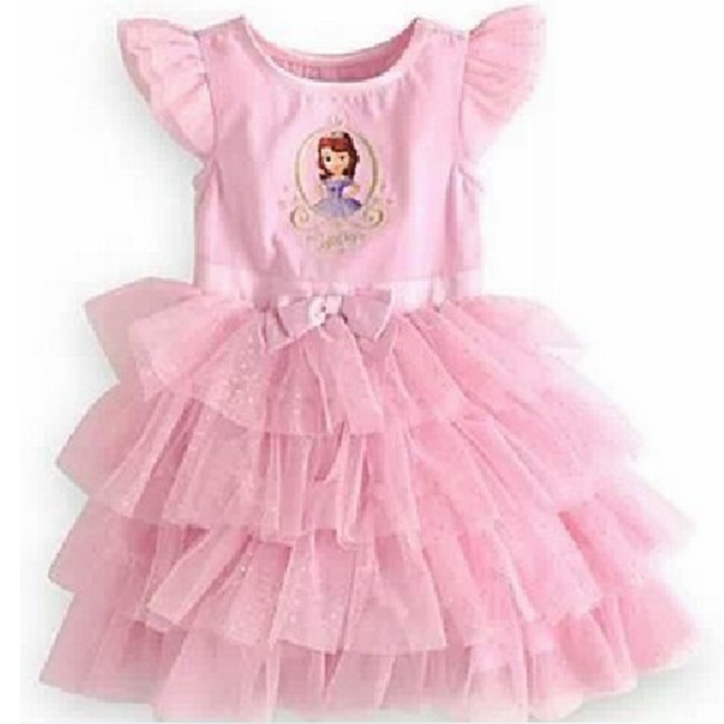 Pink Princess Sofia Dress Lace Tutus for Baby Girl Birthday Party Kids Clothes Fashion Summer Toddler Clothing Children's Wear fashion kids girls toddler baby lace princess party dress clothes 2 7y