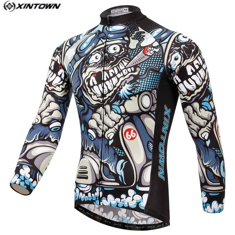 Hot Men Bike Long Skull Gray Pro Team Cycling Clothing Riding Top Man MTB Cycling Clothing Wear Maillot Long Sleeve Shirts