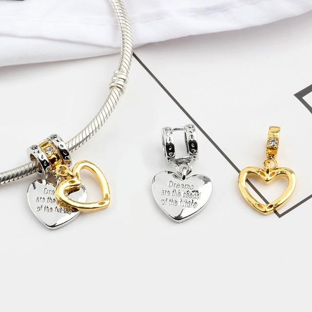 925 Sliver Bead Rose Gold Enamal Pendant Dangle Charm Fit Pandora Bracelet Necklace DIY 4