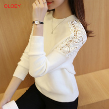 Women Sweaters Sexy Lace Hollow Out Solid Pullover 2019 New Fall Winter Fashion Sweater Women Slim Bottoming Knitted Tops