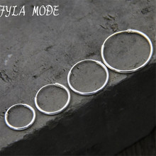 New 925 Sterling Silver Fine Smooth Exaggerated Circle Hoop Earrings For Women Earings Simple Sterling-silver-jewelry 14mm 20mm