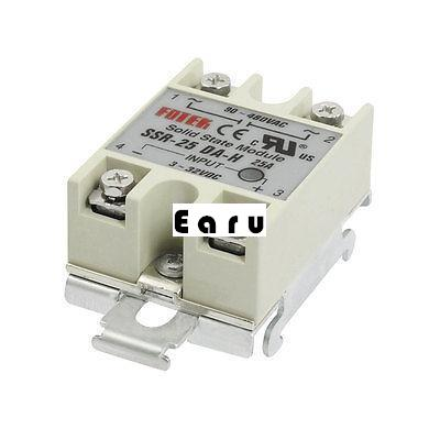 DC 3-32V Input AC 90-480V 25A Solid State Relay DIN Rail Mount SSR 4 20ma to ac 28 280v 25a one phase 35mm din rail socket solid state relay