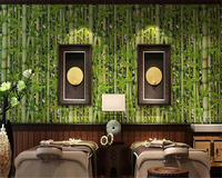 Beibehang Modern Home Decor 3D Wallpaper Bamboo Forest Green Fresh Wallpaper Living Room TV Cafe Background