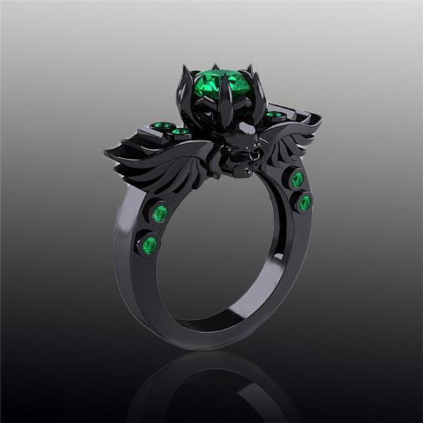 Gros anneaux de mariage turc gothique crâne Wing bague de fiançailles, De  pierre verte saphir