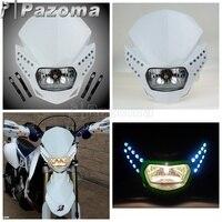 PAZOMA Universal Motorcycle Streetfighter White Headlight Fairing Enduro Cross With LED Fairing For YAMAHA GSX ZXR YZF CBR R1CBF