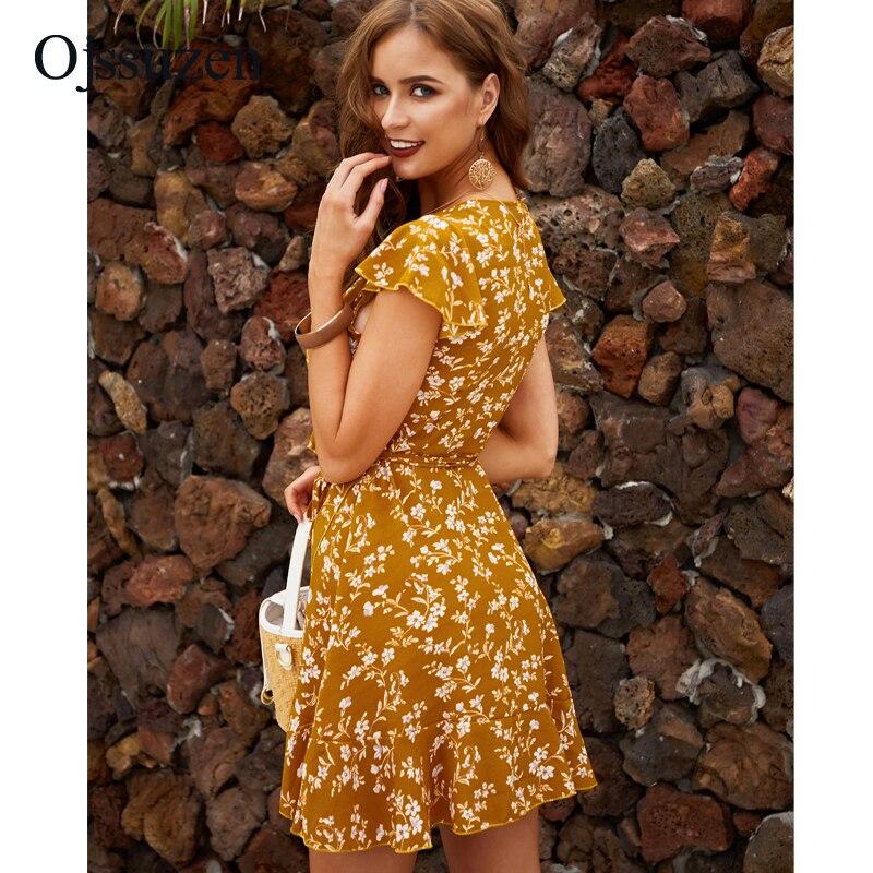 Sleeveless  V Neck Women Dress Sexy Ruffles Summer Woman Beach Dresses A Line Print