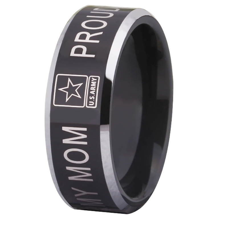 Two Tone JEWELRY Hot Sales 8MM Military Proud Army MOM Design Mens Black Tungsten Comfort Fit Ring ...