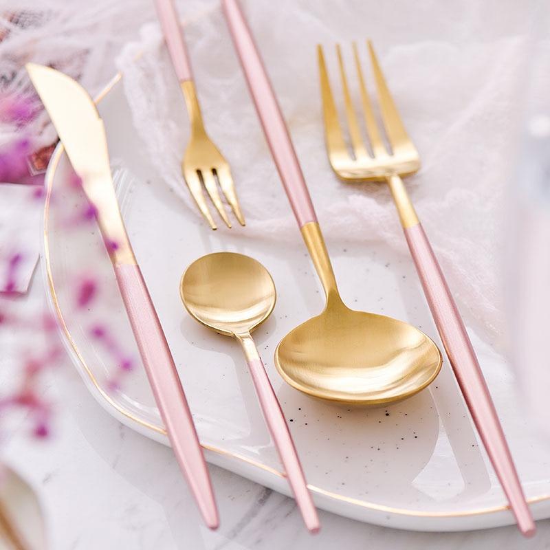 KuBac 30 sztuk zestaw sztućców różowe złoto zestaw stołowy 18/10 widelec ze stali nierdzewnej nóż miarka zestaw sztućce zestaw z małe owoce widły w Zestawy naczyń obiadowych od Dom i ogród na  Grupa 2