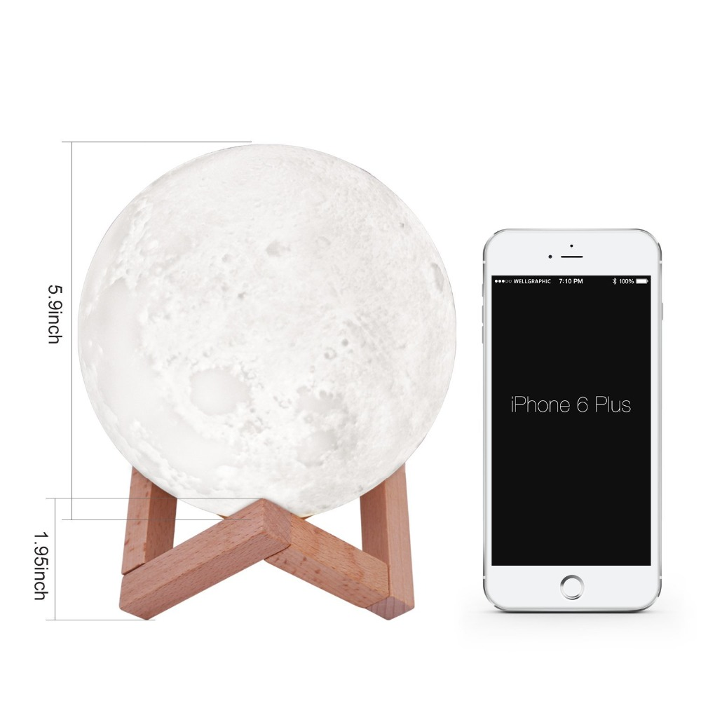 Moon Light 3D Print RGB Color Change Touch Dimmable LED Lamp USB Charging Light Rechargeable Night Light Lamp Creative Gift