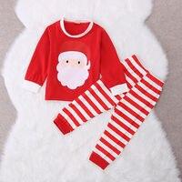 New Kids Girls Boy Santa Striped Pajamas Set Nightwear Sleepwear Pyjamas Outfits Baby Christmas Suit