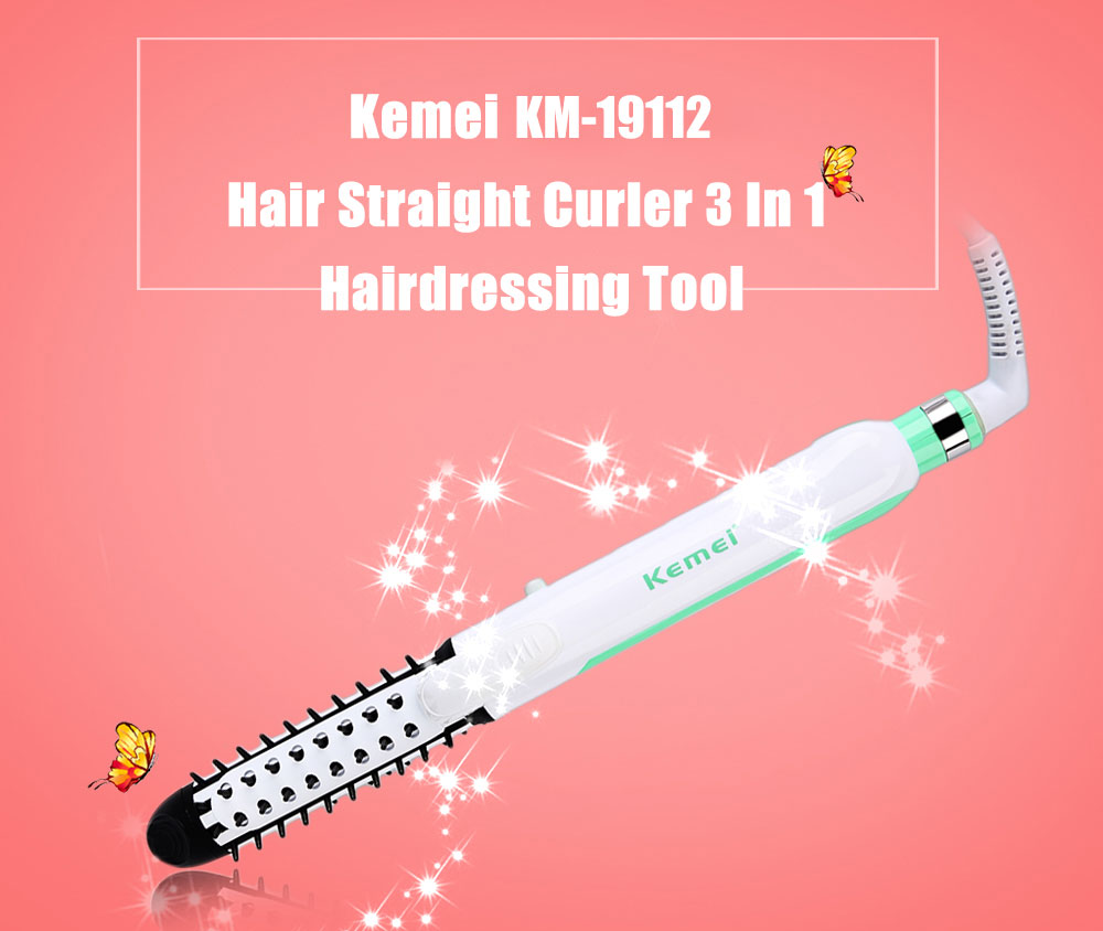 Kemei KM - 19112 Portable 220V 3 In 1 Curling Electric Hair Care Styling Tool Straightener Curler And Cumb kemei km 211 professional electric ceramic curling iron hair curler straightener hair care styling salon tools with eu plug
