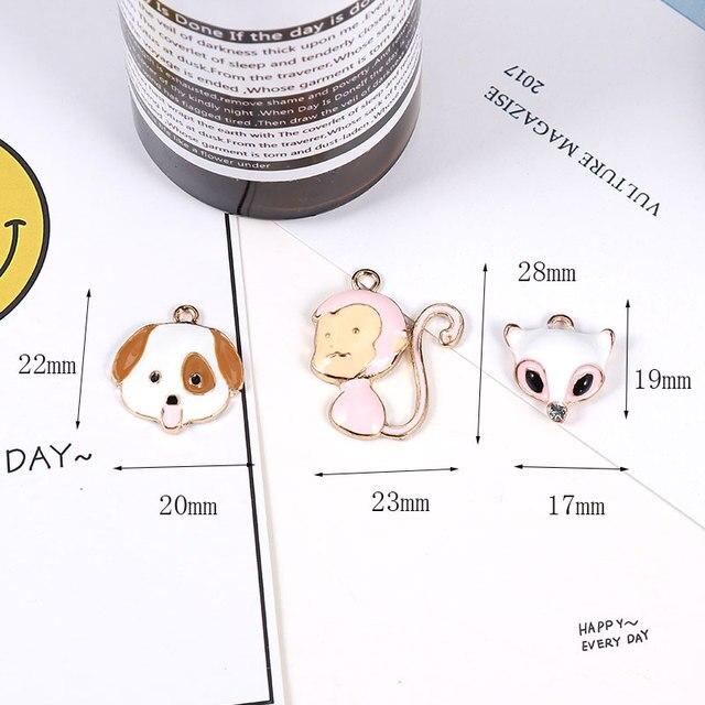 MRHUANG 10 cái/gói Con Chó Đáng Yêu Khỉ Fox Động Vật Men Charms Alloy Pendant fit dây chuyền vòng tay DIY Trang Sức Phụ Kiện