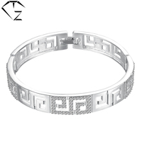 Pure 925 Sterling Silver Bangles For Women Punk AAA Crystal GZ Genuine S925 Silver Bangle Female