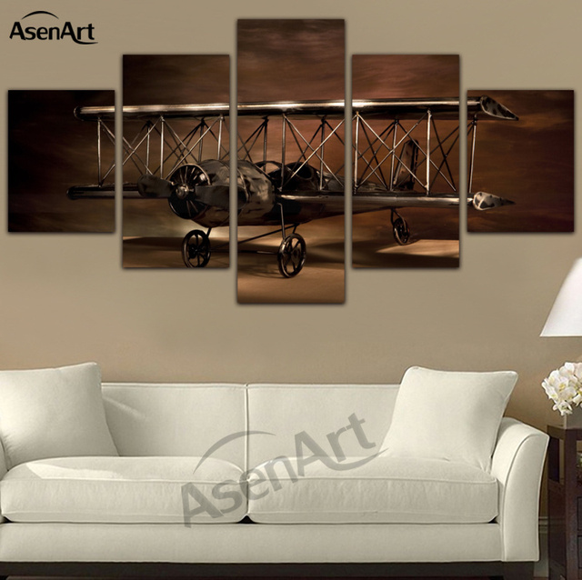 5 panel painting airplane aircraft model biplane wall art canvas prints modern artwork wall pictures for