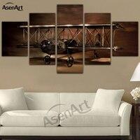5 Panel de Arte de La Pared Impresiones de la Lona Pintura Modelo de Avión avión Biplano de Obras de Arte Moderno de Pared Cuadros para la Sala Sin Marco