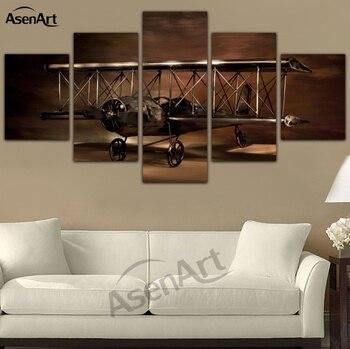 2ecc45b5ec 5 Panel pintura modelo de avión biplano pared arte lienzo arte moderno cuadros  de la pared para la sala de estar Unframed