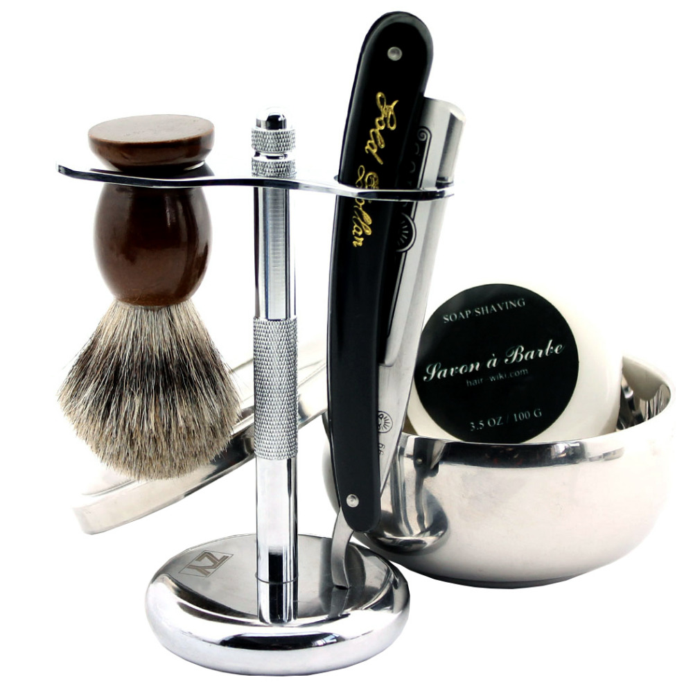 ZY 5pcs/set Shaving Razor Straight Razor Set Badger Shaving Brush Stand Shave Soap Bowl With Lid mens badger shaving brush stand razor holder and double head safety straight razor