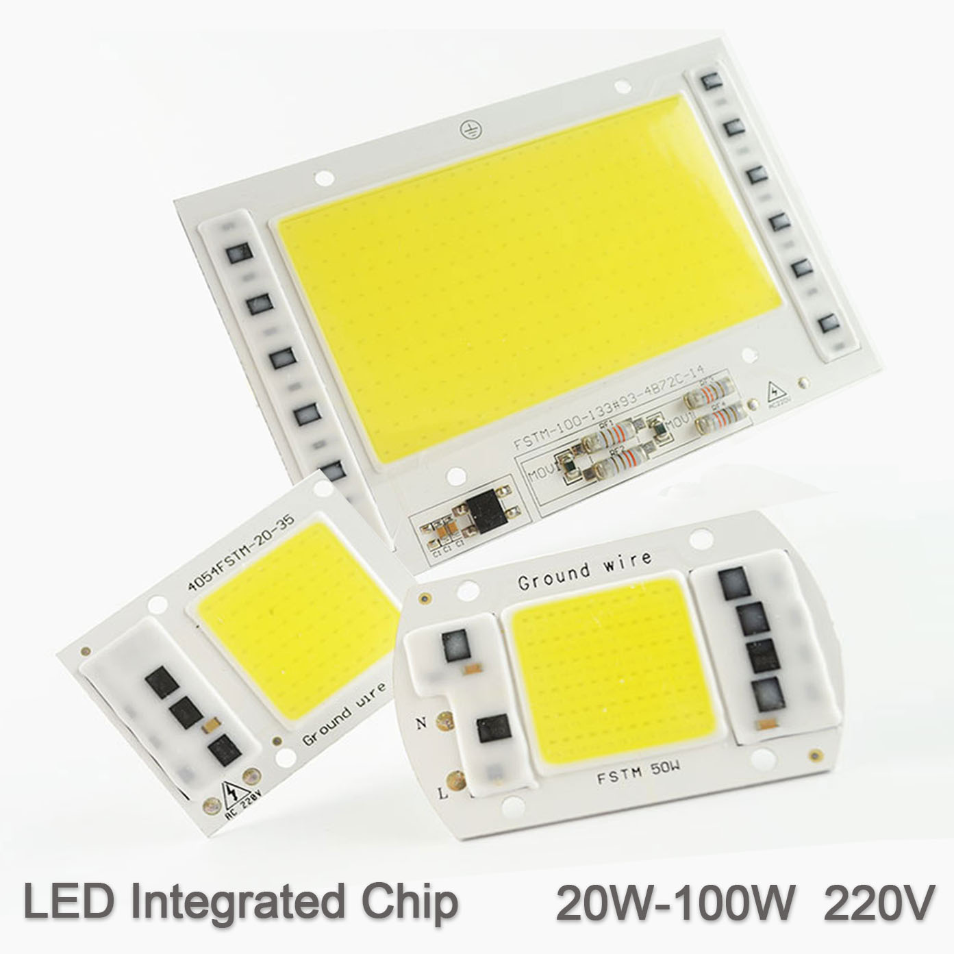 [DS] LED Lamp Chip Integrated COB 5W 20W 30W 50W 100W 220V Smart IC Driver Cold Warm White LED Spotlight Floodlight Growth Grow