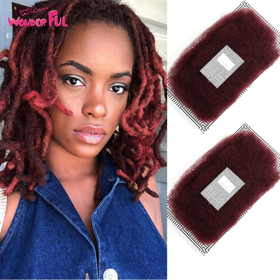 Brazilian Remy Hair Afro Kinky Curly Bulk Human Hair For Braiding 1 Pack 50g/pc Color 99J Braids Hair No Weft Wine Red