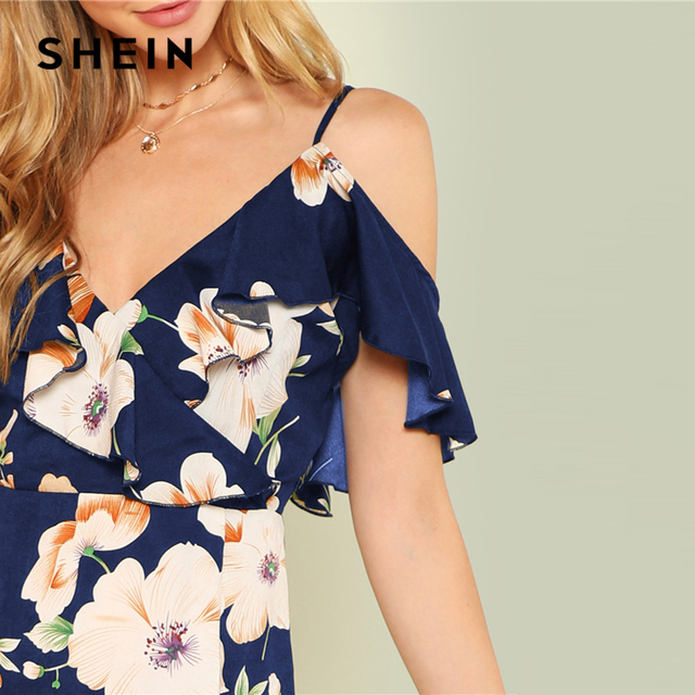SHEIN Multicolor Vacation Backless Boho Bohemian Beach Flounce Cold Shoulder Floral Print Dress Summer Women Casual Dress 3