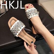 HKJL Water drill low heel joker slippers summer 2019 new south Korean version of leisure wear one word A391