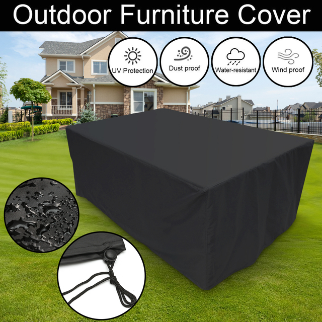 4 Size Outdoor Garden Furniture Rain Cover Waterproof Oxford Wicker Sofa  Protection Set Garden Patio Rain