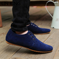 LIN KING New Style Autumn Men Suede Leather Flats Shoes Casual Low Top Lace Up Shoes Fashion Pointed Toe Business Shoes For Male