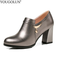 YOUGOLUN Women Pumps Spring Genuine Cow Leather Thick Heel 7 5 Cm High Heels Rifle Color