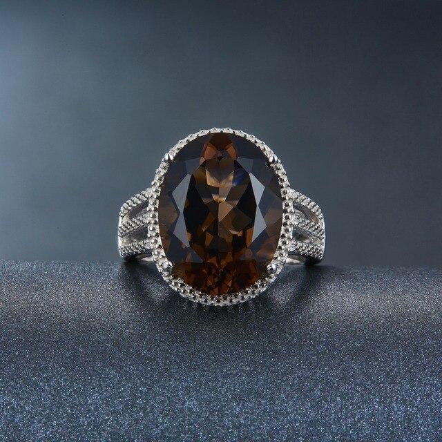 HUTANG anneaux de mariage 8.3ct naturel fumé Quartz solide 925 en argent Sterling bague de Cocktail pierre précieuse Fine pour les femmes filles cadeau nouveau