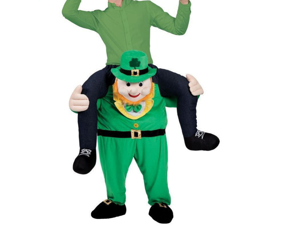 Mens St Patricks Day Green Shoulder Carry On Piggy Back Ride Me Party Costume