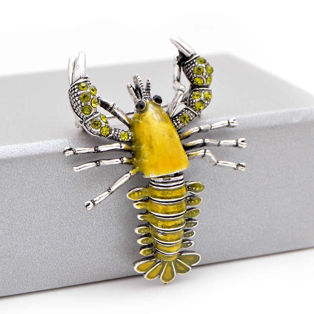 Cindy Xiang Baru Warna Kuning Enamel Lobster Bros untuk Wanita Vintage Hidup Hewan Pin Mantel Aksesoris Anak-anak Hadiah Yang Bagus