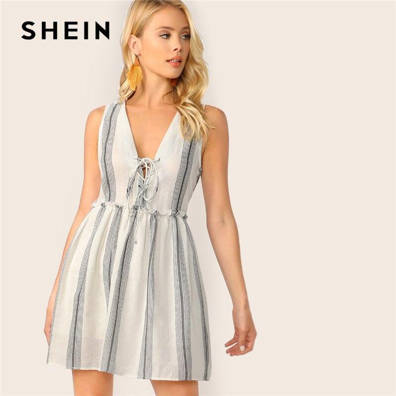 SHEIN Boho белое кружевное платье с оборкой без рукавов, летнее платье в полоску, женское платье с глубоким v-образным вырезом, расклешенное секс...