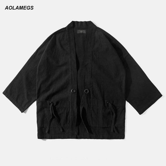 mode japonais streetwear harajuku style Streetwear casual japon Aolamegs vêtements kimono Hommes cardigan kimonos vêtements vestes wqZIEXa