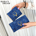 Mara's Dream Deer Wallet Women Leather VintageTri-Folds Luxury Cash Purse Girl Black Clutch Coin Long Clutch ID Card Holders