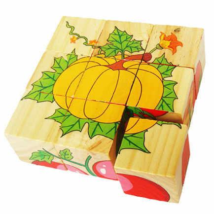 Горячая продажа детский деревянный мультфильм головоломка игрушки 6 сторон растительная Мудрая головоломка игрушки раннего развития родитель-детская игра