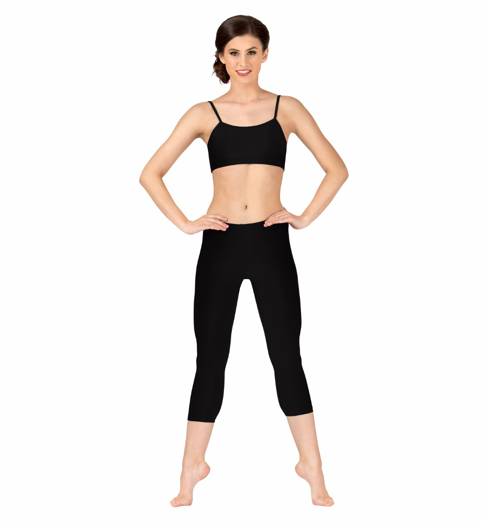 Black Adult Capri Meggings Women Low Waist Spandex Lycra Pants Ballet Dance Pants Skinny Skin Workout Dance Wear
