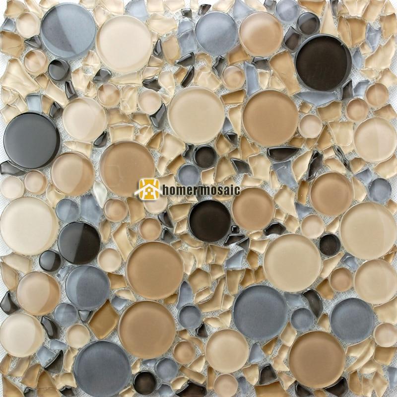 light brown mixed gray big and small round crystal glass mosaic tiles kitchen backsplash bathroom shower tiles fireplace HMB1219