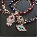 Women's Fashion Jewelry Charming Hamsa Hand Lucky Evil Eye Beads Bracelet Hot ZB380