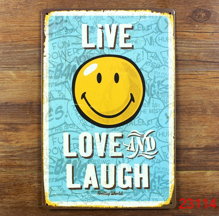20x30cm HG 1 08 LIVE LOVE AND LAUGH Iron metal poster Tin sign plate ...